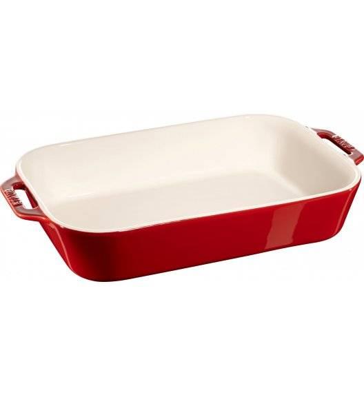STAUB COOKING Prostokątny półmisek ceramiczny / 4,5 l / 34 x 24 cm / czerwony / ceramika