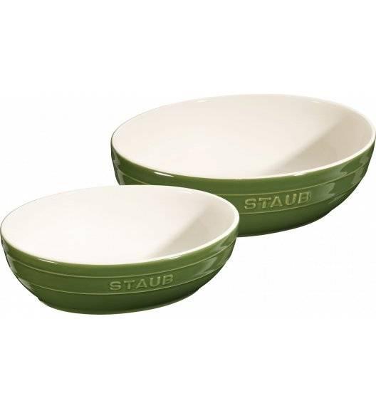 STAUB SERVING Zestaw 2 misek okrągłych / Ø 23, 27 cm / zielony / ceramika