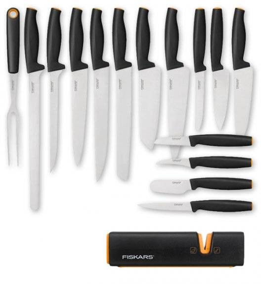 FISKARS FUNCTIONAL FORM FFL15+L1 Komplet 15 noży kuchennych + ostrzałka Fiskars Edge / stal nierdzewna