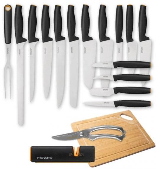 FISKARS FUNCTIONAL FORM FFL15+L3 Komplet 15 noży kuchennych + ostrzałka Edge + Deska drewniana + nożyce stalowe do drobiu / stal nierdzewna