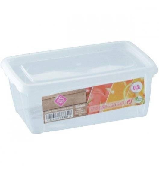 HEGA Lunchbox pojemnik prostokątny / 0,5 l / 5,5 x 14,5 x 9,5 cm / transparentny /  tworzywo sztuczne