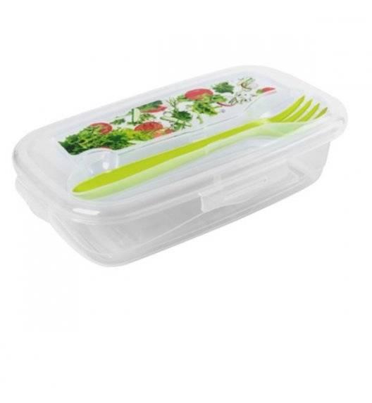 TADAR HEGA Lunch box z widelcem / 18 x 10,5 x 4 cm / transparentny, zielony / tworzywo sztuczne