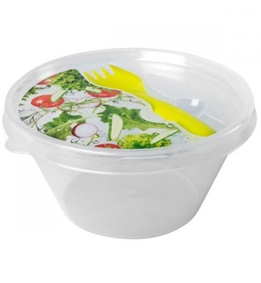 TADAR HEGA Lunch box z widelcem / Ø 14 cm / transparentny, zielony / tworzywo sztuczne