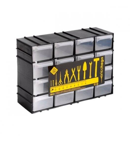 TADAR HEGA Organizer warsztatowy z szufladkami / 15 x 8 x  21,5 cm / czarny, transparentny / tworzywo sztuczne