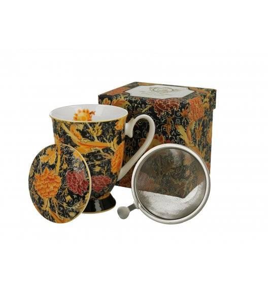 DUO CRAY FLORAL Kubek na stopce z zaparzaczem / 325 ml / porcelana / Art Gallery by William Morris