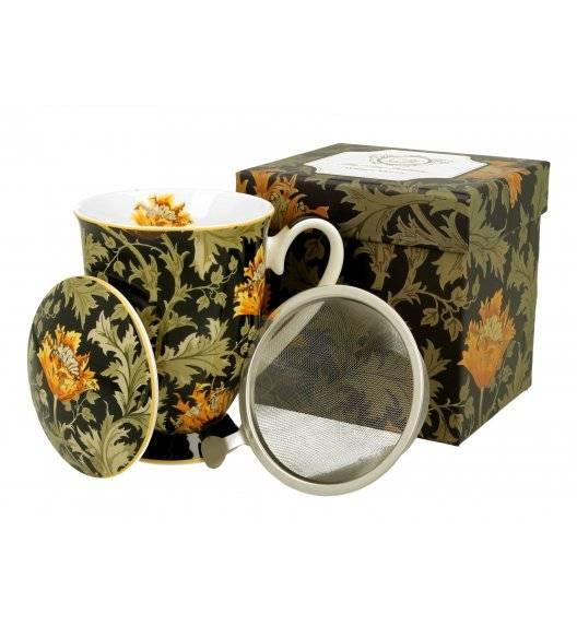 DUO CHRYSANTHEMUM Kubek na stopce z zaparzaczem / 325 ml / porcelana / Art Gallery by William Morris