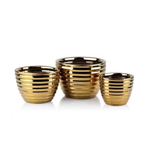 MONDEX NEVA GOLD Komplet 3 doniczek / złoty / ceramika