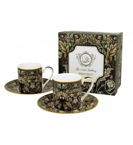 DUO ACANTHUS LEAVES Zestaw filiżanek espresso ze spodami 90 ml / porcelana / Art Gallery by William Morris