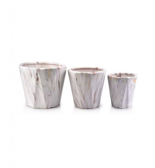 MONDEX NEVA MARBLE Komplet 3 doniczek / biały / ceramika