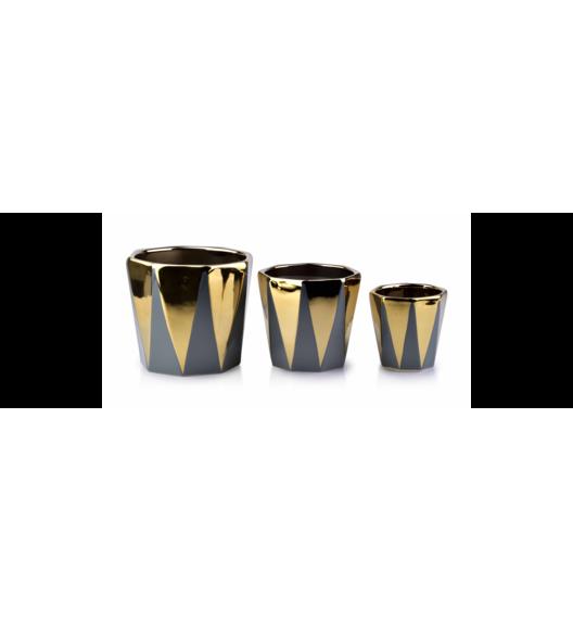MONDEX NEVA GREY Komplet 3 doniczek / złoty, szary / ceramika