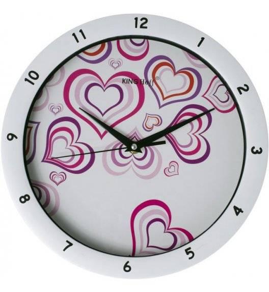 KINGHOFF Zegar ścienny okrągły / serca / Ø 27,5 cm / tworzywo sztuczne