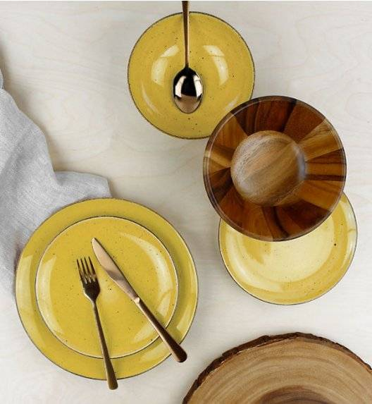 LUBIANA BOSS 6630J Serwis obiadowy 72 el / 24 osoby / żółty / porcelana ręcznie malowana