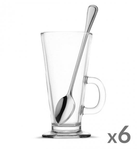 TADAR Komplet 6 szklanek Caffee Latte 270 ml + 6 łyżeczek koktajlowych Amefa Bologna