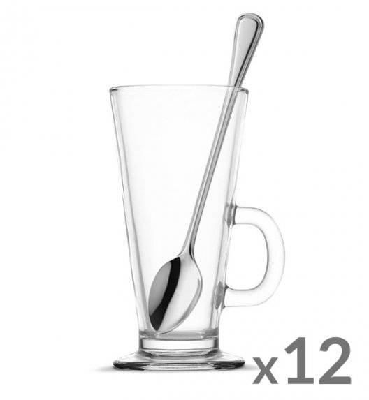 TADAR Komplet 12 szklanek Caffee Latte 270 ml + 12 łyżeczek koktajlowych Amefa Bologna