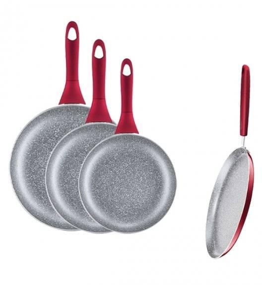 AMBITION JASPER Komplet patelni 20, 24, 28 cm + patelnia naleśnikowa 25 cm / nieprzywierająca powłoka Qualum Basic Stone Edition / czerwone