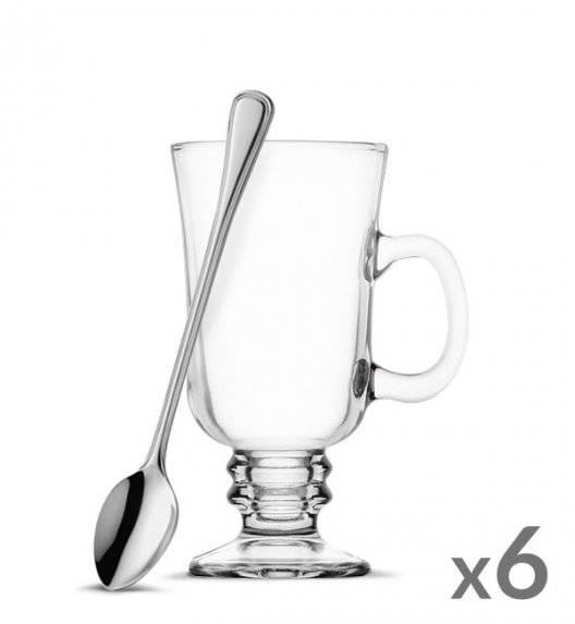 TADAR Komplet 6 szklanek Irish Coffe 240 ml + 6 łyżeczek koktajlowych Amefa Bologna
