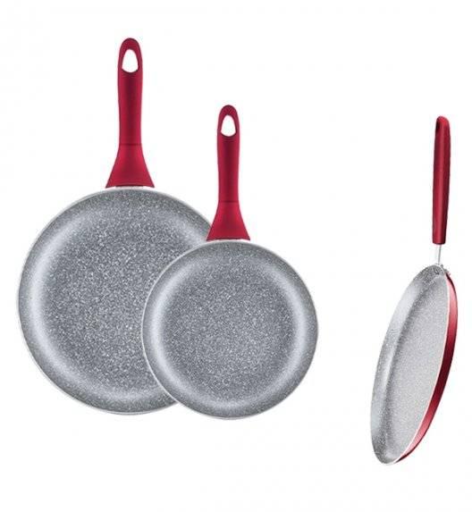 AMBITION JASPER Komplet patelni 20, 28 cm + patelnia naleśnikowa 25 cm / nieprzywierająca powłoka Qualum Basic Stone Edition / czerwone