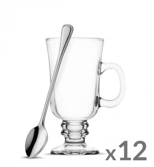 TADAR Komplet 12 szklanek Irish Coffe 240 ml Kawa Latte + 12 łyżeczek koktajlowych Amefa Bologna