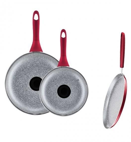 AMBITION JASPER Komplet patelni 20, 28 cm +pokrywki uniwersalne+ patelnia naleśnikowa 25 cm / nieprzywierająca powłoka Qualum Basic Stone Edition / czerwone