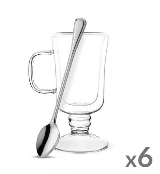 TADAR SUBLIME Komplet 6 szklanek termicznych do latte 200 ml z podwójną ścianką + 6 łyżeczek koktajlowych Amefa Bologna