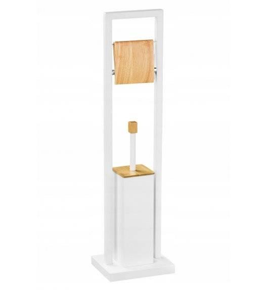 BRUNBESTE 1117 Szczotka do WC i stojak na papier toaletowy 2w1 / biały / stal nierdzewna, drewno