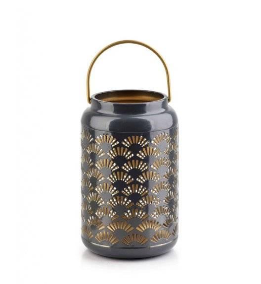 MONDEX LALI Ażurowy lampion na świeczki / 12 x 19 cm / szary / metal