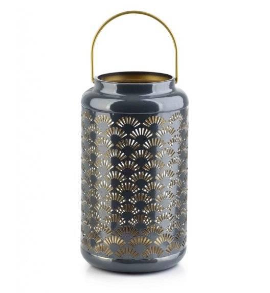 MONDEX LALI Ażurowy lampion na świeczki / 15 x 26 cm / szary / metal
