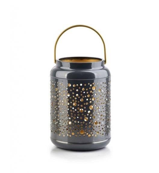 MONDEX LALI Ażurowy lampion na świeczki / 12 x 17 cm / szary / metal