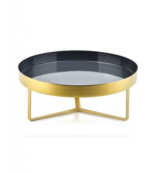 MONDEX ANISHA Metalowa, okrągła podstawka pod świece / 30 x 12 cm / czarna