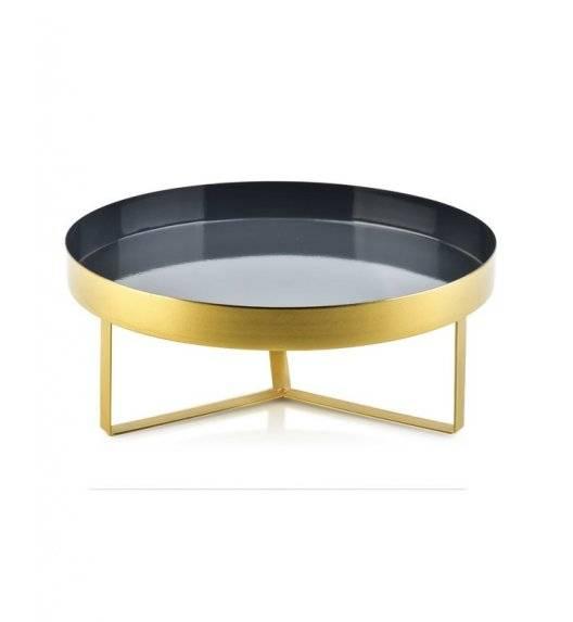 MONDEX ANISHA Metalowa, okrągła podstawka pod świece / 20 x 12 cm / czarna