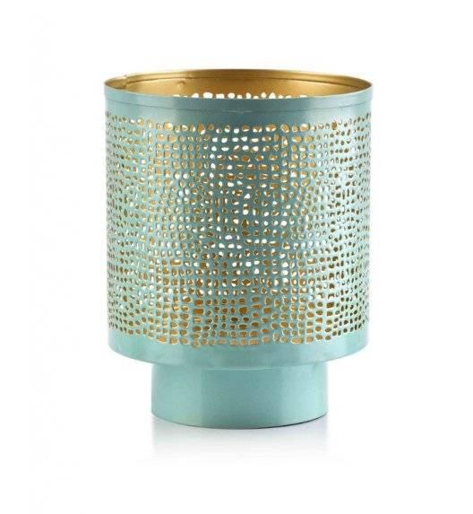 MONDEX LALI Ażurowy lampion na świeczki / 12,5 x 15,5 cm / miętowy / metal