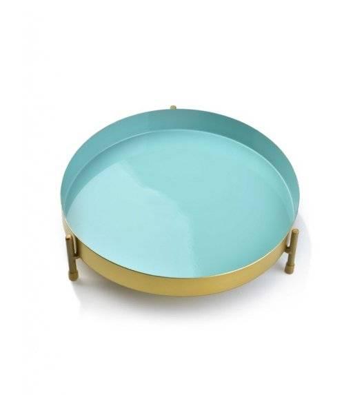 MONDEX ANISHA Metalowa, okrągła podstawka pod świece / 20 x 5,5 cm / miętowy, złoty