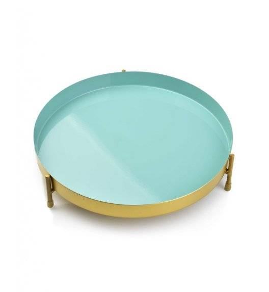 MONDEX ANISHA Metalowa, okrągła podstawka pod świece / 25 x 5,5 cm / miętowy, złoty