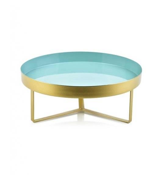 MONDEX ANISHA Metalowa, okrągła podstawka pod świece / 30 x 12 cm / miętowy, złoty