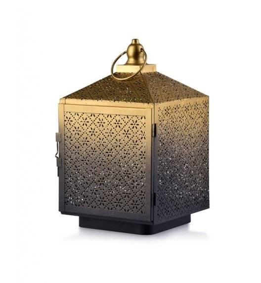 MONDEX LALI Ażurowy lampion na świeczki / 16 x 16 x 27,5 cm / czarny, złoty / metal