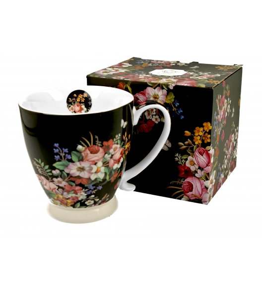 DUO VINTAGE FLOWERS BLACK Kubek na stopce / 480 ml / porcelana