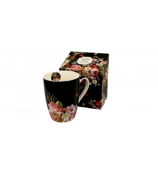 DUO VINTAGE FLOWERS BLACK Kubek z zaparzaczem / 380 ml / porcelana