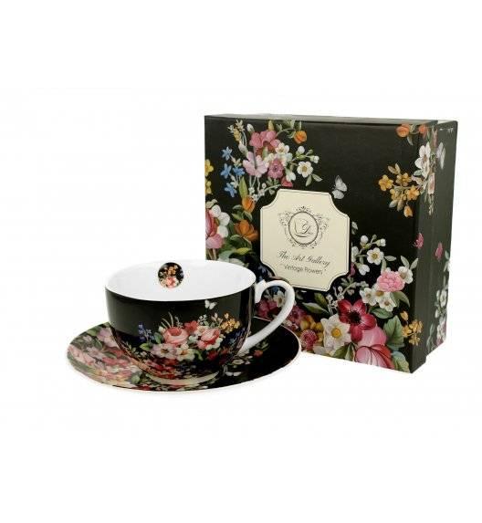 DUO VINTAGE FLOWERS BLACK Filiżanka ze spodkiem / 280 ml / porcelana