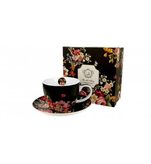 DUO VINTAGE FLOWERS BLACK Filiżanka ze spodkiem / 450 ml / porcelana