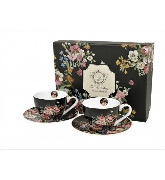 DUO VINTAGE FLOWERS BLACK Filiżanki espresso ze spodkami / 110 ml / 2 sztuki / porcelana