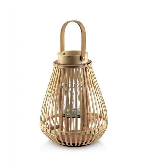 MONDEX LUCIE NATURAL Lampion / 27 x 38 cm / drewno, szkło