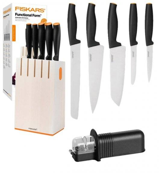 FISKARS FUNCTIONAL FORM 1014209 Komplet 5 noży kuchennych w białym bloku + OSTRZAŁKA uniwersalna / stal nierdzewna / rękojeść Softgrip®