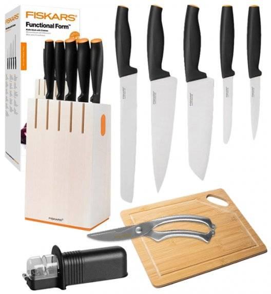 FISKARS FUNCTIONAL FORM 1014209 Komplet 5 noży kuchennych w białym bloku + OSTRZAŁKA uniwersalna + Deska drewniana + Nożyce do drobiu / stal nierdzewna / rękojeść Softgrip®