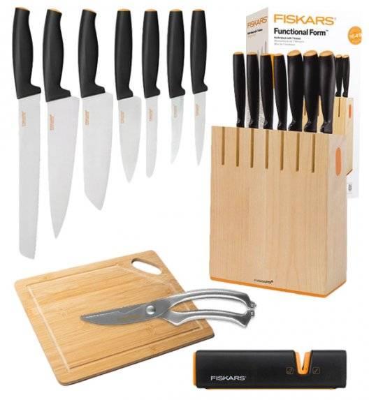 FISKARS FUNCTIONAL FORM 1018781 Komplet 7 noży kuchennych w bloku drewnianym + OSTRZAŁKA Edge + deska drewniana + nożyce do drobiu / Rękojeść Softgrip®