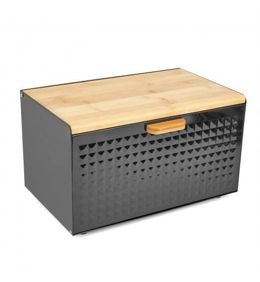 TADAR GEOMETRIC Chlebak z drewnianą pokrywką 35,5 x 21,5 cm / czarny / stal nierdzewna