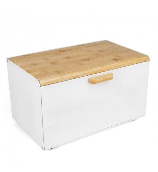 TADAR GEOMETRIC Chlebak z drewnianą pokrywką 35,5 x 21,5 cm / biały / stal nierdzewna
