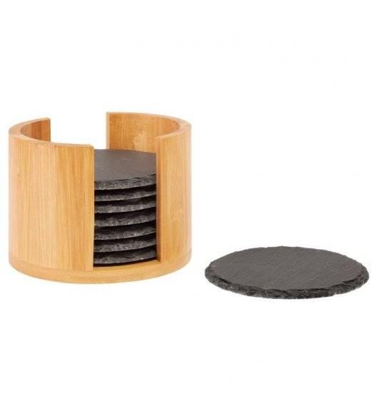 WESTMARK Zestaw podkładek w pudełku / Ø 10 cm / 9 elementów / łupek + drewno