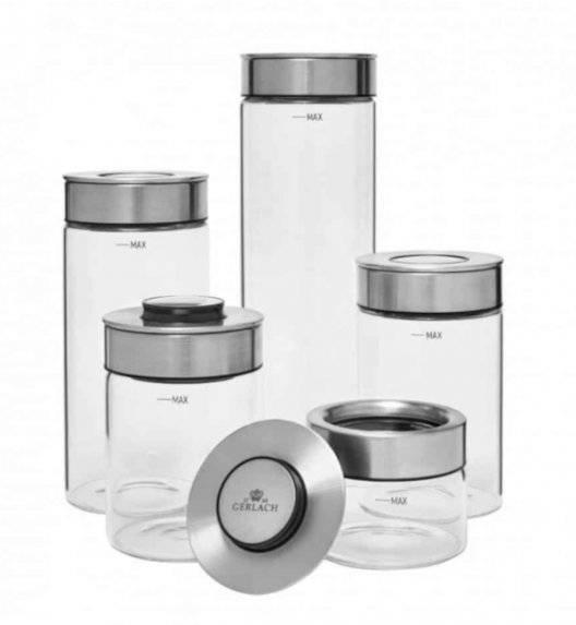 GERLACH AMBIENTE Zestaw 5 szklanych pojemników na żywność / hermetyczna pokrywka