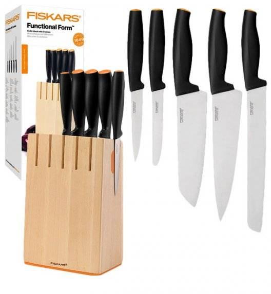 FISKARS FUNCTIONAL FORM 1014211 Komplet 5 noży kuchennych w drewnianym bloku / stal nierdzewna / rękojeść Softgrip®
