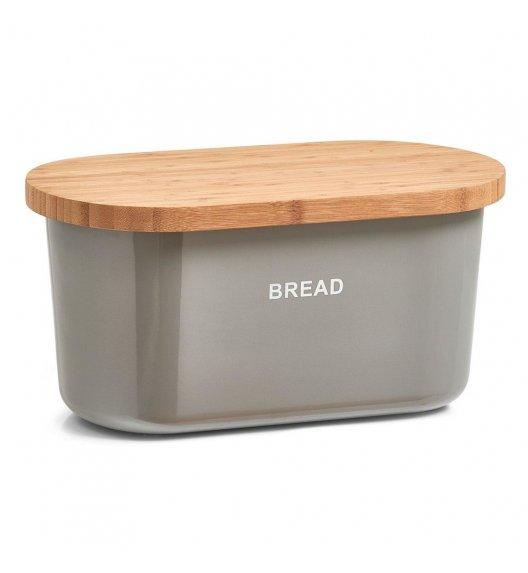 WYPRZEDAŻ! ZELLER BREAD Chlebak z deską do krojenia 2w1 / 39 cm / szary / tworzywo sztuczne